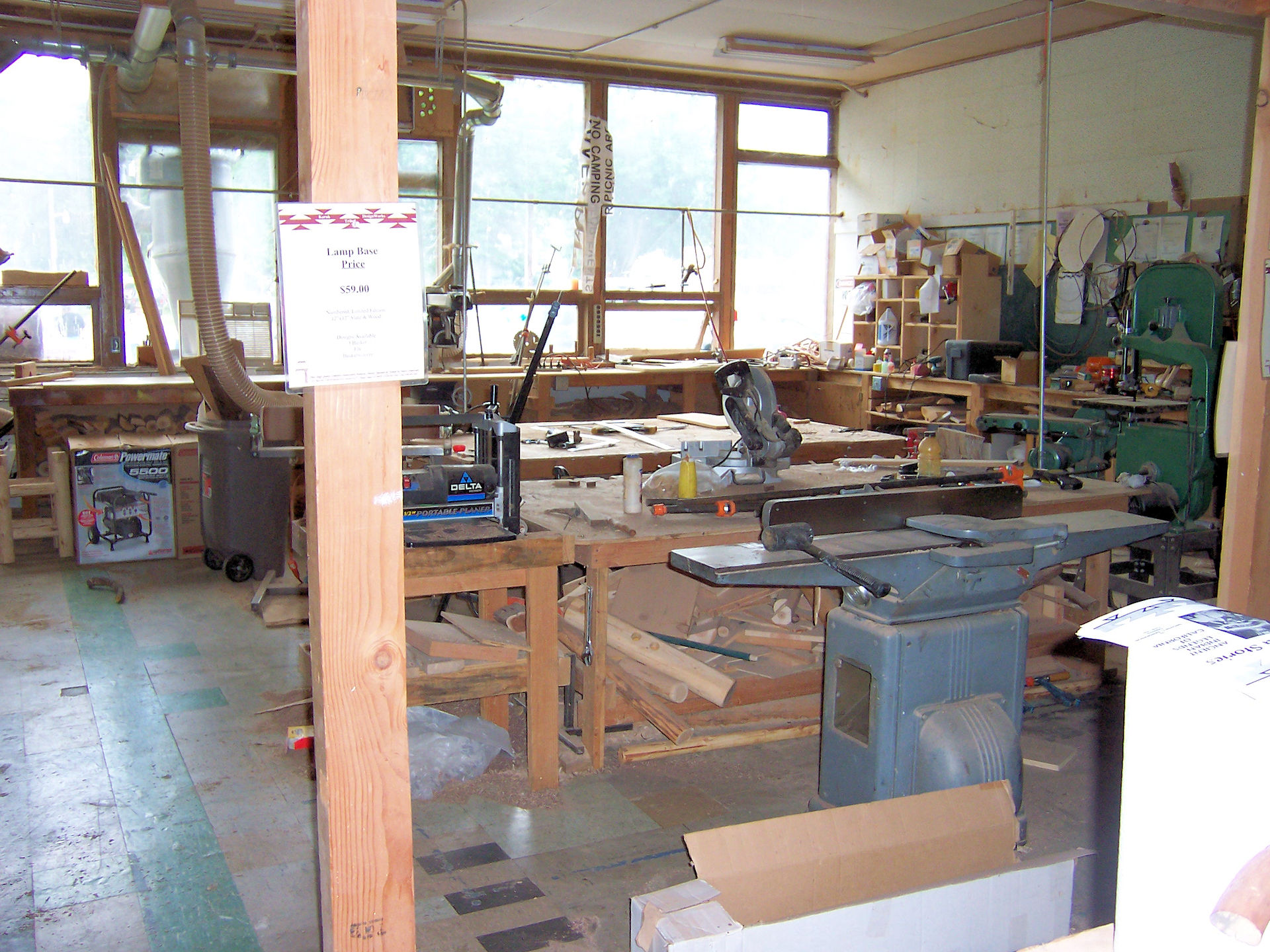 Workshop for furniture built from roundwood owned by the Katuk Tribe in Happy Camp, CA - 2005